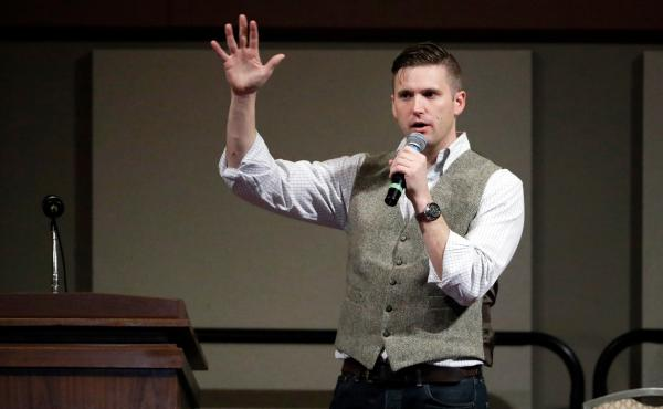 "Richard Spencer, a white nationalist who claims to have coined the term ""alt-right,"" speaks at the Texas A&M University campus in Dec. 2016. The number of campus visits made by white nationalist leaders like Spencer looking to connect with students person"
