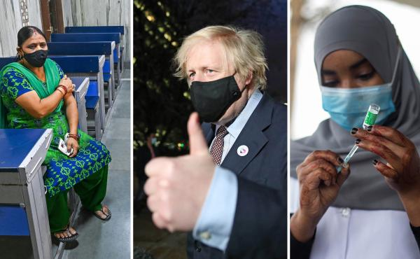 From left: A New Delhi woman waits in an observation room after getting the Covishield vaccine (the name used for the AstraZeneca vaccine in India) on May 26. U.K. Prime Minister Boris Johnson leaves a vaccination center after his first AstraZeneca dose o