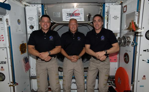 NASA astronauts (from left) Bob Behnken, Doug Hurley and Chris Cassidy are the U.S. members of the Expedition 63 crew aboard the International Space Station. Behnken and Hurley are scheduled to return to Earth on Aug. 2.