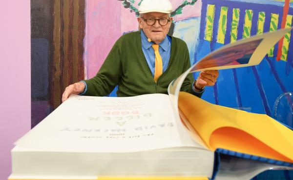David Hockney looks through A Bigger Book, Taschen's massive collection of more than 60 years of his work.