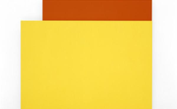 Ellsworth Kelly, Yellow Relief over Red, 2004. Oil on canvas, two joined panels, 80 x 83 x 2 3/4 inches. Private collection.