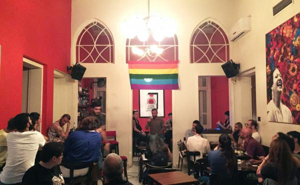 In Beirut, an audience listens to testimonies about encounters with the police over homosexuality. The event was part of Beirut Pride week – the city's first.