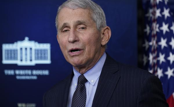 Dr. Anthony Fauci, shown here earlier this month, participated on Wednesday in the Biden administration's coronavirus team's briefing.