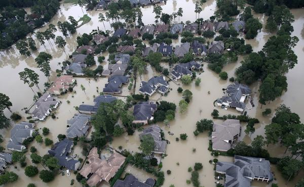 An aerial view of flooded homes near Lake Houston on Aug. 30.