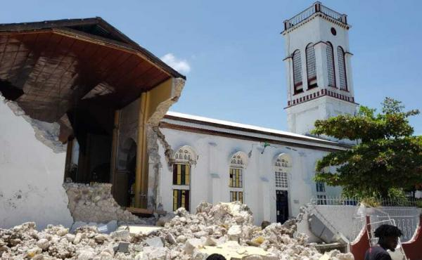 Sacred Heart church is damaged after an earthquake struck in Les Cayes, Haiti, on Saturday. The prime minister declared a state of emergency.