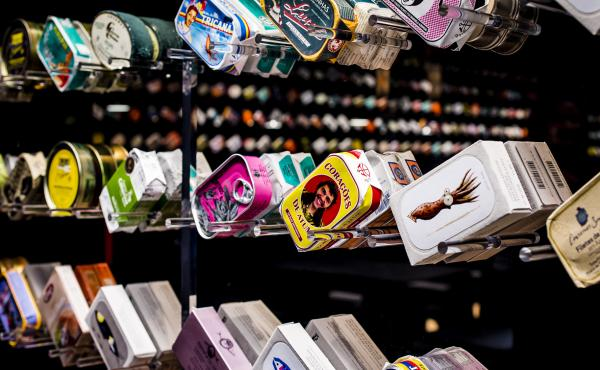 There's a strong element of buying with your eyes at Tincan. Rows of gourmet-quality tins, beautifully packaged in collectible-worthy cans, are displayed at eye level.