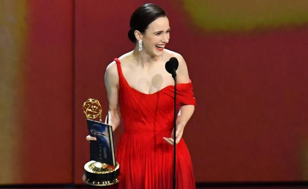 Rachel Brosnahan accepts the outstanding lead actress in a comedy series award for The Marvelous Mrs. Maisel at the 70th Emmy Awards.