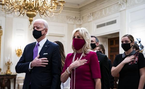 President Joe Biden and first lady Jill Biden attended the virtual presidential inaugural prayer service from the State Dining Room of the White House.