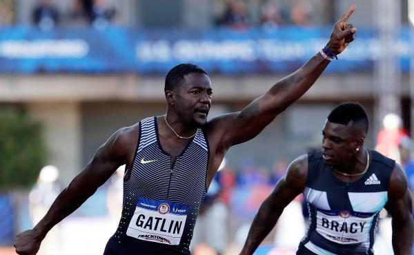 Justin Gatlin celebrates victory in the 100 meters at the U.S. Olympic Trials for track and field. Gatlin has been suspended twice for failing doping tests, once in 2001 and again in 2006.