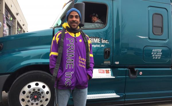 """Siphiwe Baleka (left) says he gained 15 pounds when he first started driving a truck; food was comfort and exercise was tough to come by. Trucking, he says, is """"the most unhealthy occupation in America."""""""