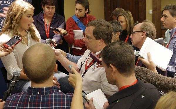 """American alpine skier Mikaela Shiffrin speaks with reporters at the U.S. Olympic team media event Wednesday. Shiffrin said it's """"cool"""" to see sports play a bigger role in politics and culture than it has in the past."""