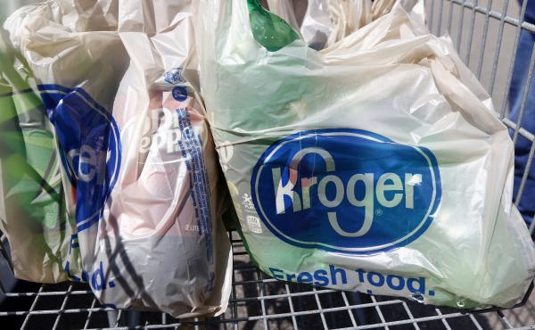 Single-use plastic bags like these are going to be phased out by Kroger supermarkets.