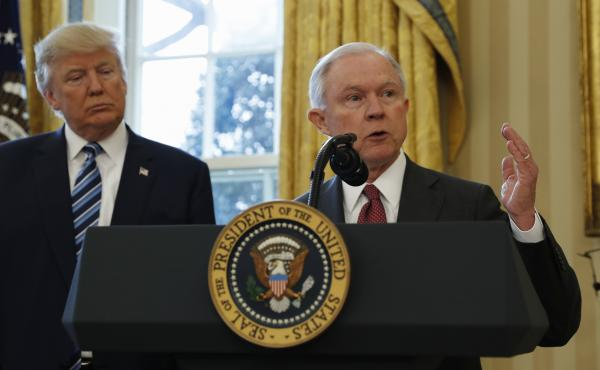 Attorney General Jeff Sessions speaks at his swearing in earlier this month. He said Monday he will focus on issues such as violent crime and police morale.