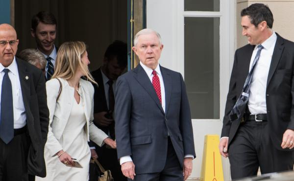 Attorney General Jeff Sessions is expected to be asked about his meetings with Russian officials when he testifies Tuesday. He is seen here leaving the Appellate Chiefs' Conference in South Carolina this weekend.