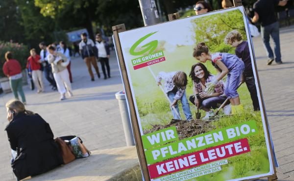 """An Austrian court ruled on Friday that the """"hate postings"""" against an Austrian politician must be deleted from Facebook worldwide. The case concerns posts insulting Eva Glawischnig, the leader of the Austrian Green party. Above, a poster featuring Glawisc"""