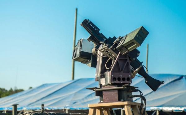 The U.S. Army's Autonomous Remote Engagement System is mounted on the Picatinny Lightweight Remote Weapon System and coupled with an M240B machine gun. It's part of a program that reduces the time to identify targets using automatic target detection and u