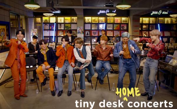BTS plays a Tiny Desk (home) concert.