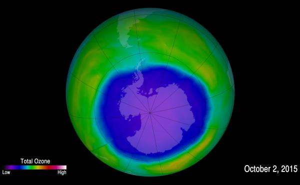 An image provided by NOAA shows the hole in the ozone layer in 2015. NOAA scientists now say emissions of one ozone-depleting chemical appear to be rising, even though the chemical has been banned and reported production has essentially been at zero for y