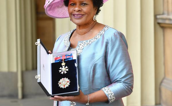 Dame Sandra Mason is seen here after she was made a Dame Grand Cross of the Order of St. Michael and St. George during a ceremony at Buckingham Palace in 2018 in London. Before her election as the first president of Barbados, she served as the governor ge