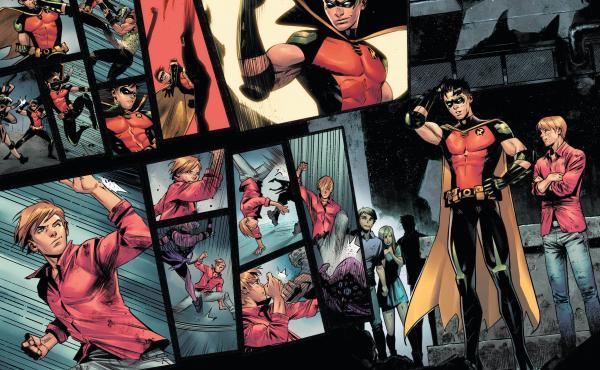 In Batman: Urban Legends #6, Robin (Tim Drake) comes to a realization. Writer: Meghan Fitzmartin. Art: Belén Ortega. Color: Alejandro Sánchez.