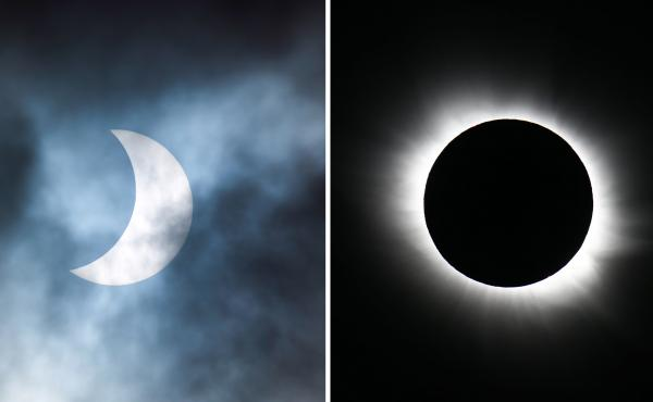 Left: A partial solar eclipse, as viewed from the Cotswolds, United Kingdom, March 2015. Right: A total solar eclipse, as viewed from Longyearbyen, Norway, March 2015.