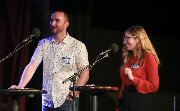 Contestants Matt Spiegel and Michelle Barras appear on Ask Me Another at the Bell House in Brooklyn, New York.