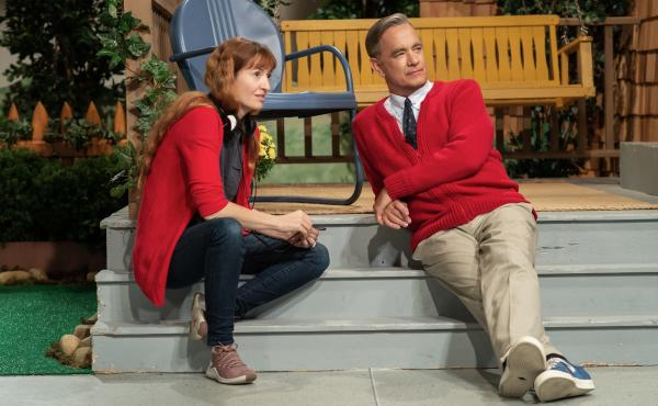 """""""The way the public feels about Tom Hanks has a similar quality to how we feel about Mister Rogers,"""" says director Marielle Heller. But she found that Hanks and Rogers had a very different energy. At the beginning, she tried to """"rein Tom's natural buoyanc"""