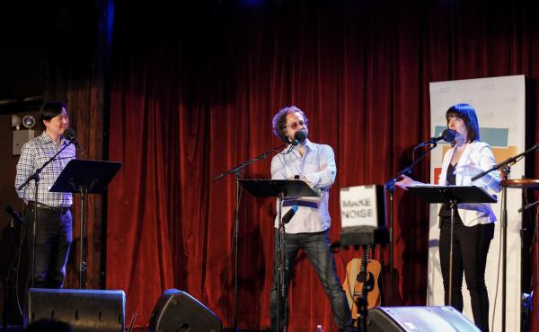 Art Chung, Jonathan Coulton, and Ophira Eisenberg appear on Ask Me Another.