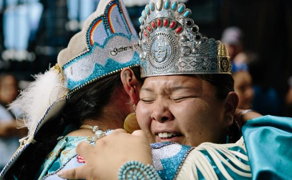 Montoya (right) hugs 2018-2019 Miss Indian World Taylor Susan after the coronation ceremony.