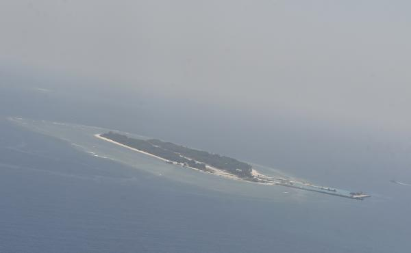 An aerial image shows  Taiping island, in the Spratlys chain in the South China Sea, on March 23.