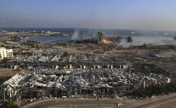 An aerial view of Beirut's port one day after a massive explosion rocked the Lebanese capital. Tuesday's blast flattened much of the port and damaged buildings across the city.