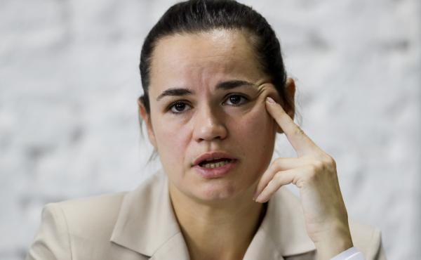 Opposition candidate Svetlana Tikhanovskaya speaks at a news conference Monday in Minsk, Belarus, after the Belarusian presidential election.