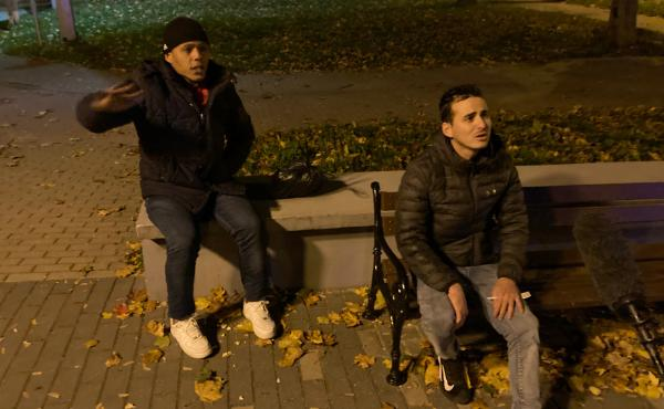Raydel Aparicio Bringa (left) and Doniel Machado Pujol are photographed while being apprehended by Poland's Border Guard in the town of Sokolka, on the Polish border with Belarus. The two men, from Cuba, are among thousands of migrants from impoverished o