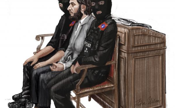 In this courtroom sketch, Salah Abdeslam (center) sits between two police officers at the Brussels Justice Palace in February. He was sentenced Monday to 20 years in prison over charges related to a shootout when he resisted arrest months after the 2015 P