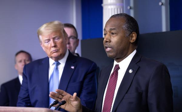 Ben Carson, secretary of Housing and Urban Development, right, speaks during a Coronavirus Task Force news conference in the briefing room of the White House in March.
