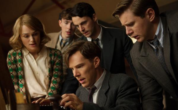 Keira Knightley, Matthew Beard, Matthew Goode, Benedict Cumberbatch, and Allen Leech in The Imitation Game.
