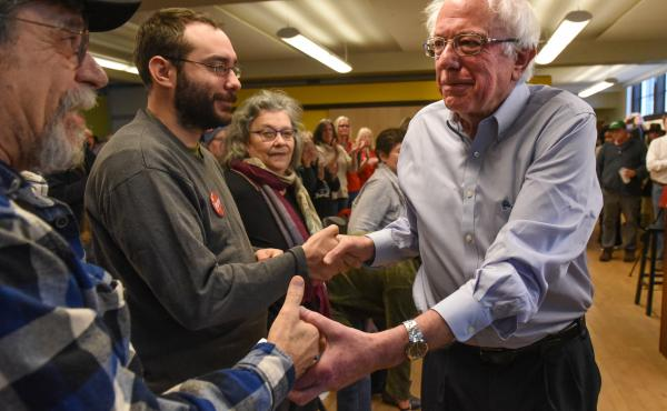 U.S. Sen. Bernie Sanders attends a campaign event for Democratic gubernatorial candidate Christine Hallquist on Nov. 4 in Montpelier, Vt.