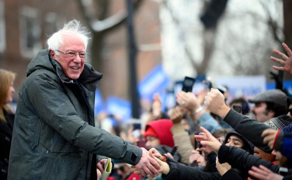 Sen. Bernie Sanders arrives for a rally to kick off his 2020 presidential campaign in the Brooklyn, New York Saturday.
