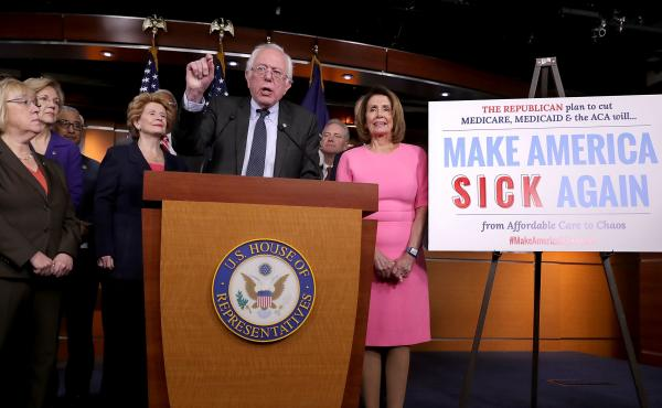 Sen. Bernie Sanders talks to reporters about preserving the Affordable Care Act with fellow Democrats from both the House and Senate after a meeting with President Obama at the U.S. Capitol on Wednesday in Washington, D.C.