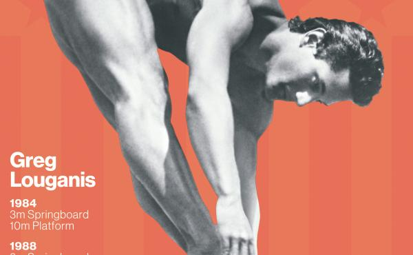 """Greg Louganis in an inward dive pike on the front of the Wheaties box. The """"legends"""" series boxes will be on shelves starting in May."""