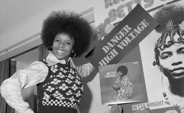Betty Wright in 1975, when she was 21 years old, stands with a display of some of her album covers. Wright was already a veteran by the time she was out of her teens, having released four studio albums that included multiple songs that would be career sig