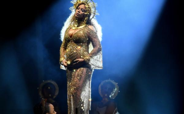 Beyoncé performs onstage during the 59th Grammy Awards at Staples Center in Los Angeles on Sunday.