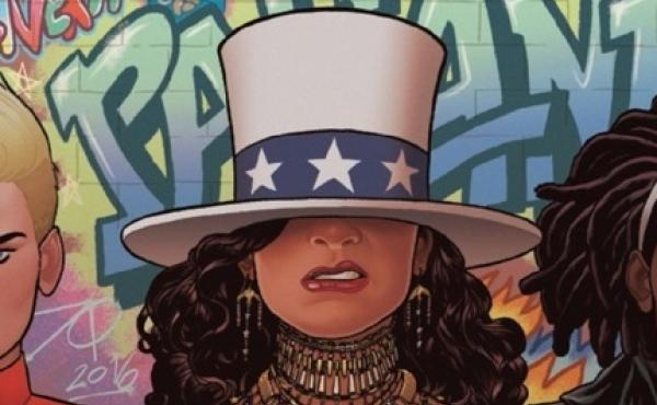 Detail of cover of America #2, by Gabby Rivera and Joe Quinones, starring America Chavez, Marvel's lesbian Latina superhero.