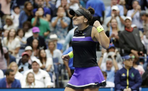 Bianca Andreescu reacts after defeating Serena Williams in the women's singles final of the U.S. Open.