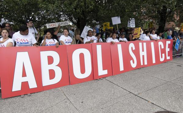 Protesters in Baltimore call for the abolition of ICE in 2019.