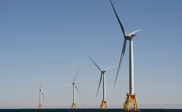The Biden administration is opening the West Coast to offshore wind. Companies have largely focused on the East Coast, such as this wind farm off Block Island, R.I.