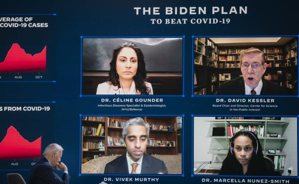 Dr. David Kessler (top right during a briefing before the election) has been a top coronavirus adviser to President-elect Joe Biden for months.