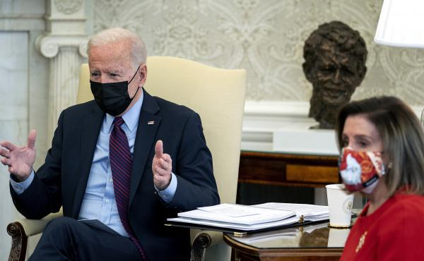 President Biden meets with House Democratic leaders, including Speaker Nancy Pelosi to discuss coronavirus relief legislation in the Oval Office at the White House on Friday.