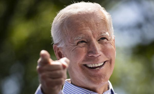 Democratic presidential candidate Joe Biden speaks during a campaign rally in Philadelphia Saturday.