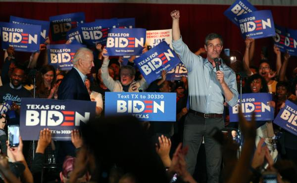 Joe Biden holds a campaign rally in March in Dallas with former U.S. Rep. Beto O'Rourke of Texas. Biden's presidential campaign is going on the air with an ad in Texas.